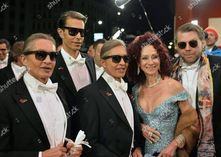(l-r) the 'Botox-boys' Oskar Wess Florian Wess and Arnold Wess Christina Lugner and Guest Arrive For the Vienna Opera Ball at the Wiener Staatsoper (vienna State Opera) in Vienna Austria 12 February 2015 Austria Vienna