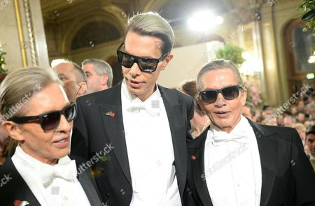 (l-r) the 'Botox-boys' Oskar Wess Florian Wess and Arnold Wess Arrive For the Vienna Opera Ball at the Wiener Staatsoper (vienna State Opera) in Vienna Austria 12 February 2015 Austria Vienna