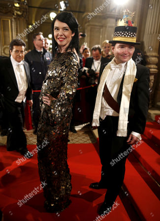 Stock Image of Austrian Former Model Carmen Kreuzer (c) Poses For Photographers Prior to the Opera Ball at the Vienna State Opera in Vienna Austria 07 February 2013 Austria Vienna
