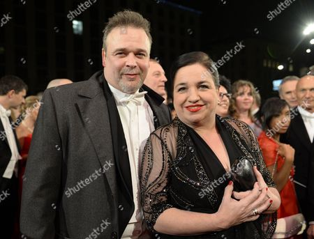 Stock Image of German Actress Maria Happel and Her Husband Dirk Nocker Arrive For the Vienna Opera Ball at the State Opera in Vienna Austria 27 February 2014 Austria Vienna