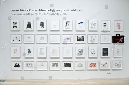Artwork titled Fluxfax from various artists showing at the Jonas Mekas Visual Arts Center, Vilnius, Lithuania.
