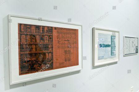 Various artwork by Lithuanian artist Jonas Mekas showing at the Jonas Mekas Visual Arts Center, Vilnius, Lithuania.