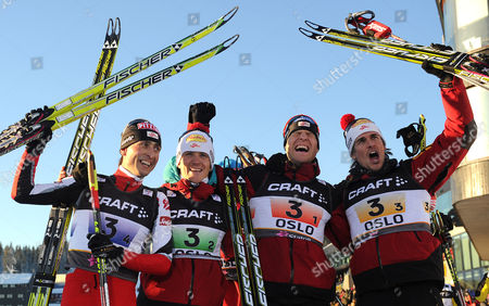 (from Left) World Champions Mario Stecher David Kreiner Bernhard Gruber and Felix Gottwald After the Nordic Combined Team Gundersen 4x5km at the Nordic Skiing World Championships in Oslo Norway 04 March 2011 Norway Oslo