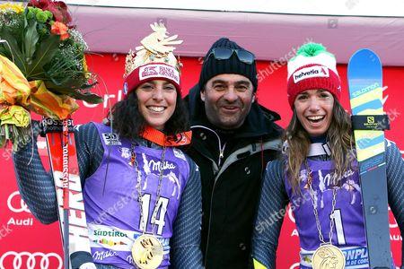 Federica Brignone, Alberto Tomba and Marta Bassino