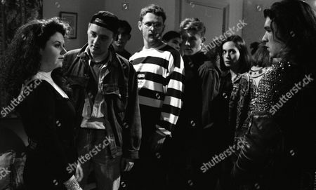 Nicola Strong (as Lorraine Nelson), Tony Pitts (as Archie Brooks), Craig McKay (as Mark Hughes) and Leah Bracknell (as Zoe Tate) at Lorraine's party as William G Travis (as Del) and Mark Hamer (as Pete) cause trouble. (Ep 1734 - 28th January 1993)