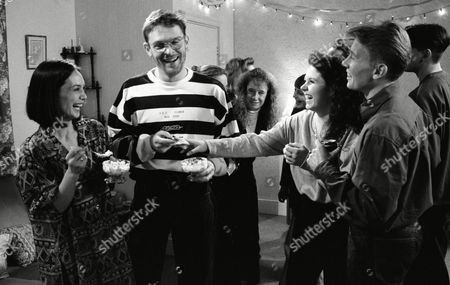 Nicola Strong (as Lorraine Nelson), Tony Pitts (as Archie Brooks), Craig McKay (as Mark Hughes) and Leah Bracknell (as Zoe Tate) at Lorraine's party (Ep 1734 - 28th January 1993)