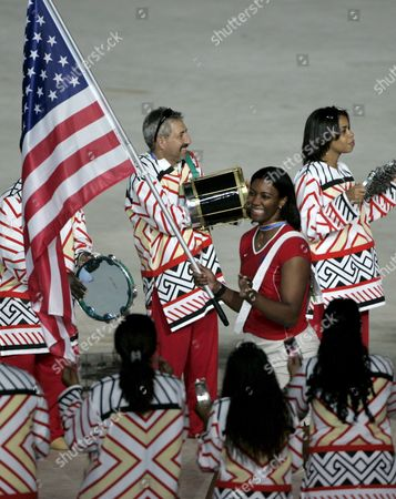 Danielle Scott-arruda Heads the Athletic Delegation of Usa Which Makes Its Official Presentation For the Supporters at the Maracana Stadium in Rio De Janeiro Brazil on 13 July 2007 During the Opening Ceremony of the Xv Pan-american Games Rio 2007 Which Will Gather 5 625 Athletes From 42 Countries Along 15 Days of Competitions Brazil Rio De Janeiro
