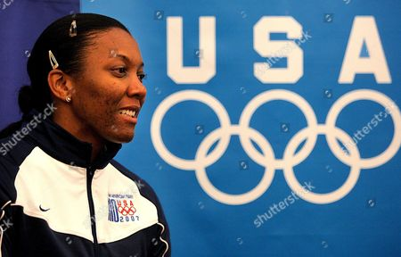 Us Volleyball Player Danielle Scott-arruda Smiles During a Press Conference in the Riocentro Sports Complex on 12 July 2007 in Which She was Designated to Hold the Us National Flag in the Opening Ceremony of the Xv Pan-american Games in Rio De Janeiro Brazil Which Will Begin Next 13 July Brazil Rio Das Ostras
