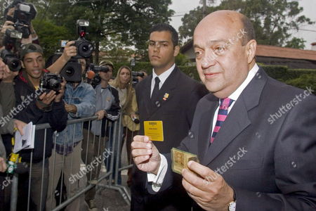 Brazilian Businessman Armando Ceravolo Shows Part of the Invitation and His i D Card to Prove He is Indeed the Person Stated on the Card As He Arrives at the Maria Luisa and Oscar Americano Foundation Art Museum where Equestrian Champion Alvaro Affonso De Miranda Neto is to Wed Billionaire Heiress Athina Roussel Onassis Saturday 03 December 2005 in Sao Paulo Brazil Sao Paulo