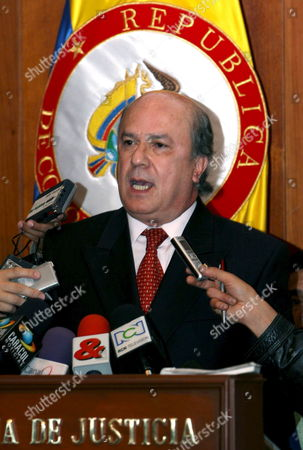 Supreme Court of Colombian Justice President Cesar Julio Valencia Copete Speaks to the Media Friday 16 February 2007 in Bogota Valencia Denounced Threats of Death Against Magistrate of That Court Yesid Ramirez who Investigates Relations Among Congress Members and Paramilitary This Scandal Has Taken to Prison Eight Congress Members Colombia Bogota