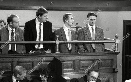 Matthew Vaughan (as Michael Feldmann) at Michael Feldmann's trial for robbery, with Gavin Kitchen (as Steve Marshal) and William Ivory (as Billy) (Ep 1742 - 25th Febuary 1993)