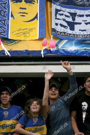 Dalma Maradona (2nd L) Daughter of Argentinian Soccer Hero Diego Maradona who is Hospitalized with Health Problems Attends the Match Between Boca Juniors and River Plate at La Bombonera Stadium in Buenos Aires Argentina 15 April 2007 the Match Ended 1-1 Argentina Buenos Aires