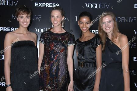 Stock Picture of L-R: Models Madeline Kragh, Elettra Wiedemann, Austria Alcantara, and Cato Van Ee