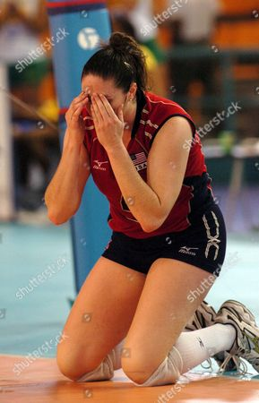 Usa Volleyball Player Lindsey Berg Cries After the Victory of Brazilian Team and the Bronze Medal in the Match For the Iv Pan-american Feminine Volleyball Coup in Santo Domingo Dominican Republic on Saturday 18 June 2005 Dominican Republic Santo Domingo