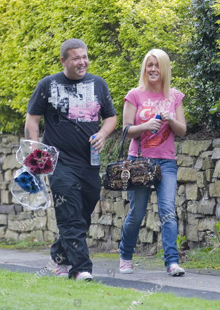 Stock Picture of Natalie and Stephen Rooney, cousins of Wayne Rooney, deliver flowers  to the home of Kerry Katona who is celebrating her birthday today.
