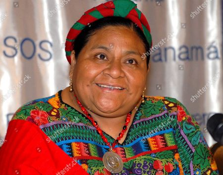 Guatemalan Presidential Candidate and Nobel Peace Price 1992 Rigoberta Menchu Talks During a Press Conference 14 June 2007 in the City of Panama Menchu is on a Visit to Panama to Commemorate the 25th Anniverssary of the Sos Infant Village As Well For the Presentation of the Book 'Las Mujeres Y Sus Vidas Madres Sos De Todo El Mundo Relatan' Wirtten by Sos Kinderdorf Internation Panama Panamß