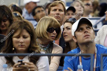 Anna Wintour and daughter Bee Shaffer (back row). Roger Federer's girlfriend Miroslava 'Mirka' Vavrinec (texting, bottom row)