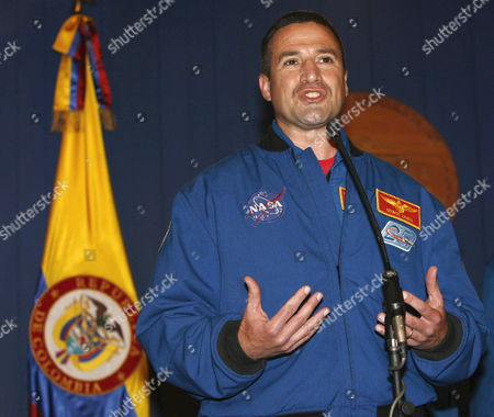 Space Shuttle Discovery Crewmember George D Zamka Whose Mother is Colombian Talks During a Press Conference at the Casa De Narino House of Colombian Government After a Meeting with President Alvaro Uribe Velez in Bogota Colombia on 04 March 2008 with His Colleagues Us Stephanie D Wilson Us Douglas H Wheelock and Italian Paolo Angelo Nespoli of European Space Agency (esa) As Part of a Visit to This Country in Which They Will Give Conferences in Several Cities About Their Experience Working in the Space Colombia Bogota