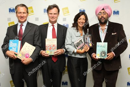 Stock Image of The Judges with the shortlist books - Michael Portillo, James Heneage, Louise Doughty and Hardeep Singh Kohli