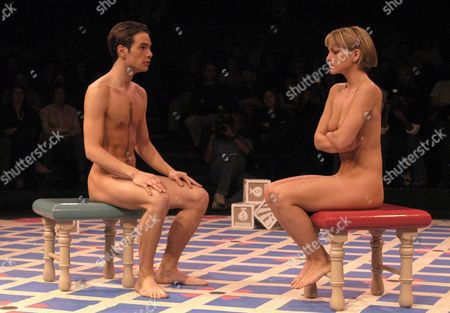 Stock Picture of Mexican Actress Veronica Segura (r) and Andres Zuno (l) Perform 'The Baby's Play' by Us Three-times Pullitzer Winner Author Edward Albee on Monday 01 March 2004 in Mexico City the Actors of the Play Perform Naked Something Unusual in the Traditional Mexican Culture Mexico Mexico City
