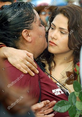 Mexican Actress Vanessa Bauche (r) Hugs Norma Andrade (l) Tuesday 25 November 2003 During a Rally to Mark the International Day For the Elimination of Violence Against Women in the Mexican Border City of Juarez the Body of Norma Andrade's Daughter Liliana Garcia was Found on 21 February 2001 and is One of More Than 260 Murder Cases in Juarez Mexico Mexico City