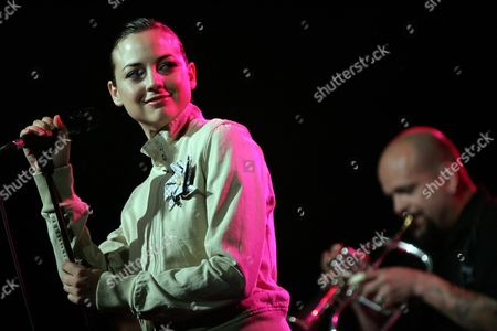 Actress and Singer Leonor Watling During the Performance with Her Group 'Marlango' Yesterday Night on 3 July 2004 in Burjassot (valencia Spain) where It Took Place the 13 Th Turia Prize Awards Gala De Premios Turia and the 40 Th Anniversary of the Billboard Spain Burjassot