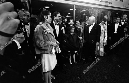 Stock Picture of CHAPLIN FAMILY AT ROYAL FILM PREMIERE. OF A COUNTESS FROM HONG KONG LONDON BRITAIN 5TH JANUARY 1967.