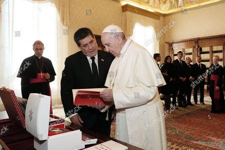 Pope Francis, president of the Republic of Paraguay Horacio Manuel Cartes Jara