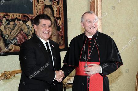 President of the Republic of Paraguay Horacio Manuel Cartes Jara, Cardinal Secretary of State Pietro Parolin