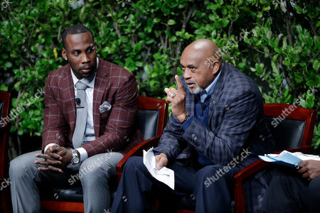 """Tommie Smith, Anquan Boldin Former U.S. Olympian Tommie Smith, right, speaks as NFL football wide receiver Anquan Boldin listensduring a sports and activism panel entitled """"From Protest to Progress: Next Steps"""", in San Jose, Calif"""