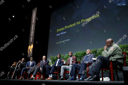 """Harry Edwards, Jim Brown, Takeo Spikes, Kareem Abdul-Jabbar, Chris Webber, Anquan Boldin, Tommie Smith Dr. Harry Edwards, at right, moderates a sports and activism panel entitled """"From Protest to Progress: Next Steps"""" with former and current professional athletes in including, from left, Jim Brown, Takeo Spikes, Kareem Abdul-Jabbar, Chris Webber, Anquan Boldin and Tommie Smith, in San Jose, Calif"""