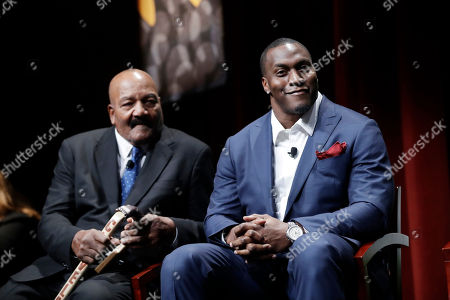 """Former NFL players Jim Brown, left, and Takeo Spikes during a sports and activism panel entitled """"From Protest to Progress: Next Steps"""", in San Jose, Calif"""