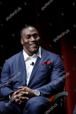 """Former NFL football player Takeo Spikes during a sports and activism panel entitled """"From Protest to Progress: Next Steps"""", in San Jose, Calif"""