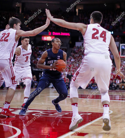 Tony Carr, Ethan Happ, Zak Showalter, Bronson Koenig Penn State's Tony Carr (10) looks to pass as Wisconsin's Ethan Happ (22), Zak Showalter (3) and Bronson Koenig (24) defend during the first half of an NCAA college basketball game, in Madison, Wis