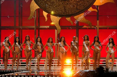 Stock Picture of The Candidates to Miss Universe 2007 Title Miss Brazil Natalia Guimaraes; Miss Japan Riyo Mori; Miss Venezuela Ly Jonaitis; Miss Korea Honey Lee; Miss Nicaragua Xiomara Blandino; Miss Mexico Mar?a Ojeda Cue; Miss Tanzania Flaviana Matata; Miss Us Rachel Smith; Miss Angola Micaela Reis and Miss India Puja Gupta Pose After Being Chosen As the 10 Finalists of This Beauty Contest at National Auditorium in Mexico City 29 May 2007 Mexico Mexico City