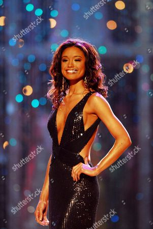 Stock Image of The Candidate to Miss Universe 2007 Title Puja Gupta of India Wears a Nightsuit During the Last Night of Miss Universe 2007 at National Auditorium in Mexico City 28 May 2007 Mexico Mexico City