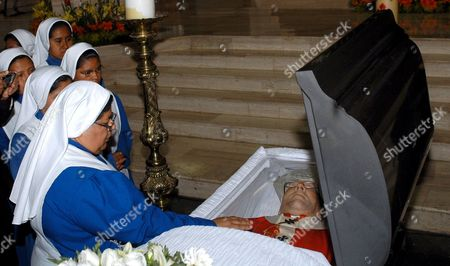 Nuns Pay Their Last Respect During the Funeral Service of Mexican Archbishop Adolfo Antonio Suarez Rivera in the Guadalupe Church Nuevo Leon State Northern Mexico 24 March 2008 Suarez Rivera Die Last Saturday at the Age of 80 Years and Pope Benedict Xvi Send a Telegram Complaining About the Lost of the Archbishop who He Said 'Generously Served the Catholic Church' Mexico Monterrey
