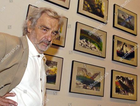 Austrian Artist Arnulf Rainer Poses Besides Some of the 68 Works Exhibited at the Provincial Museum of Zaragoza Northern Spain on Friday 29 September 2006 Rainer Will Receive This Evening the Award 'Aragon-goya 2006' Spain Zaragoza