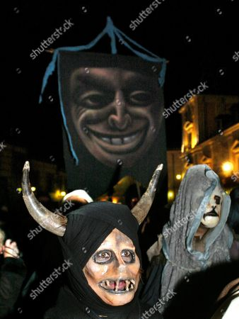People Wearing Masks Parade in the Streets of Madrid After the Carnival Season Opening Speech by Cuban Actor Alexis Valdes From the Main Balcony of Madrid's City Hall Friday 04 February 2005 Spain Madrid