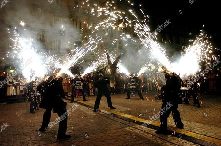 Stock Photo of Fireworks in the Streets of Madrid After the Carnival Season Opening Speech by Cuban Actor Alexis Valdes From the Main Balcony of Madrid's City Hall Friday 04 February 2005 Spain Madrid