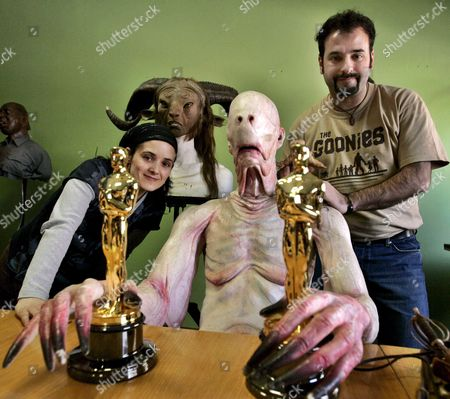 Spanish Make-up Artists David Marti (r) and Montse Ribe Awarded with the Oscar For the Best Make-up in 'Faun's Labyrinth' Pose with One of the Film's Characters in Barcelona Northeastern Spain on Saturday 17 March 2007 Spain Barcelona