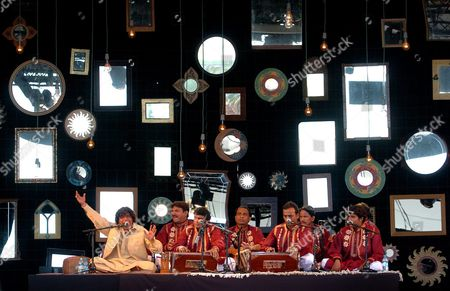Stock Photo of Pakistani Qawwali Music Group of Faiz Ali Faiz Performs During the Presentation of the Show at Culture's Forum 2004 in Barcelona Northeastern Spain on Monday 12 July 2004 Qawwali is a Musical Way of Heterodox Islam Widespread in India and Pakistan Spain Barcelona