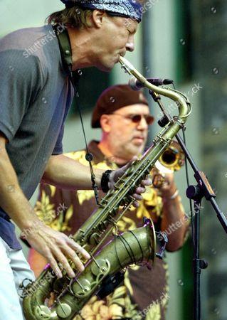 Trumpet Player Randy Brecker (background) and Saxophonist Bill Evans (foreground) of the Band Soulbop Perform During the Concert on 29 July 2003 at the San Sebastian Jazz Festival Epa Photo/efe/javier Echezarreta Spain San Sebastian