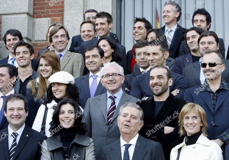 Front Row L-r: Barcelona's Mayor Jordi Hereu; Spanish Actress Maribel Verdu; Javier Godo Godo's Count and Journalist Gemma Nierga Pose For the Group Photo For the Ondas Awards 2007 Winners Before the Awards Ceremony at the Albeniz Small Palace of Barcelona Spain Tuesday 04 December 2007 the Awards Ceremony Will Be Held Same Day Evening at the Liceo Grand Theatre Spain Barcelona