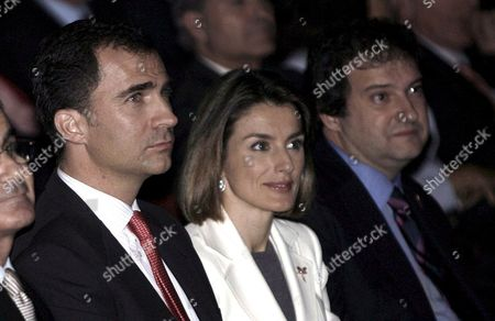 Spanish Prince Felipe (l) and His Wife Letizia Ortiz (c) Sit Next to Barcelona's Mayor Jordi Hereu (r) During the Esade Alumni Annual Meeting Held at the Liceo Grand Theater in Barcelona Spain 22 January 2008 in Occasion of the 50th Anniversary of the Esade Business School in Mba and Executive Education That Brought Together More Than 2 000 Former Students Spain Barcelona