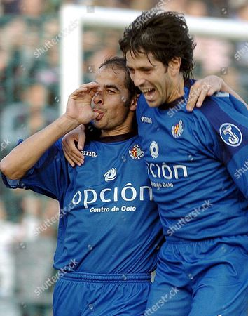 Getafe's Midfielder Mario Cotelo (l) Celebrates After Scoring Against Real Zaragoza During Their Spanish First Division League Soccer Match at Alfonso Perez Stadium in Getafe Madrid Spain Sunday 23 January 2005 Spain Getafe, Madrid