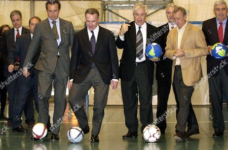 Former Soccer Stars Jorge Valdano (l) Johann Cruyff (2nd R) and Karl Heinz Rummenigge of Germany (c) Are Joined by Joan Clos (3rd R) Mayor of the Northeastern Spanish City of Barcelona at the Opening of the International Soccer Fair Planetfutbol Tuesday 17 February 2004 Planetfutbol Will Bring Professional Soccer Players and Fans Together at the Montjuic Fairgrounds Until Sunday 22 February Spain Barcelona