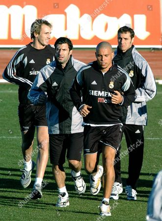 From L-r Real Madrid Players Borja Fernandez Portuguese Luis Figo Brazilian Ronaldo Luiz Nazario De Lima and Ivan Helguera Exercise During the Training Session That Real Madrid Held at the City of Football in Las Rozas Outskirts of Madrid 02 January 2005 Spain Las Rozas