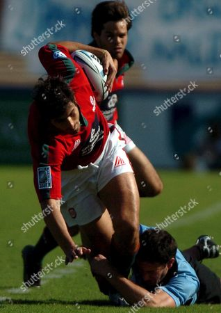 Portugal's Rugby Player Pedro Carvalho Figths For the Ball During the France 2007 Qualifier in Montevideo Saturday 24 March 2007 the Portuguese Team Lost 12-18 But Qualified to Go to the 2007 Rugby World Cup in France Uruguay Montevideo