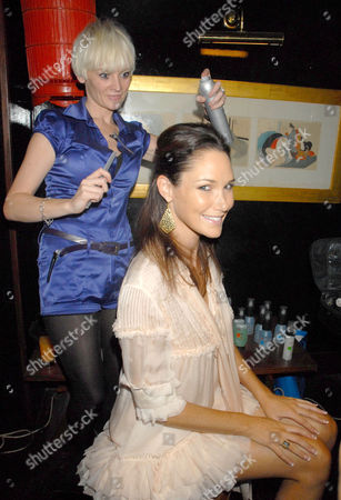 Claire Henry having her hair styled
